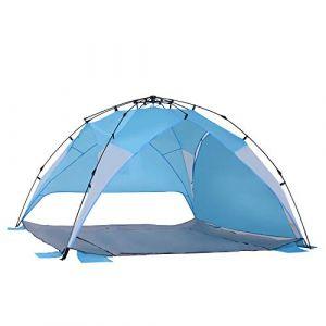 Outsunny Tente de plage abri de plage XXL pliable dim. 2,50L x 2,50l x 1,55H m sac transport inclu polyester bleu ciel