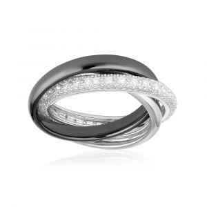 Blue Pearls Bague Femme 3 anneaux en Céramique Noir, Argent et Cristaux Cubic Zirconia Blancs - Cry Y407 C
