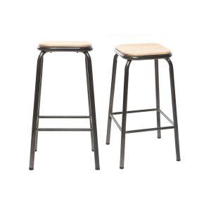 Miliboo Tabouret de bar design inox et bois clair 65 cm lot de 2 MEMPHIS