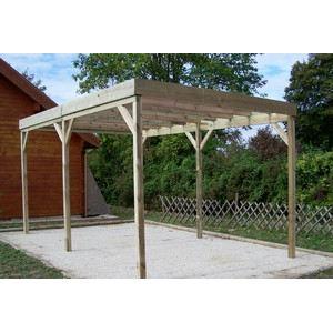 Foresta CAR 3050A - Carport en bois autoclave toit plat sans couverture 15 m2