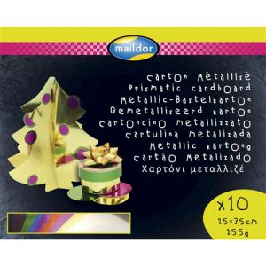 Exacompta 354595C - Sachet de 10 feuilles de carton métallisé 1 face, 255 g/m², 0,25m x 0,35m, coloris assortis (10 teintes)
