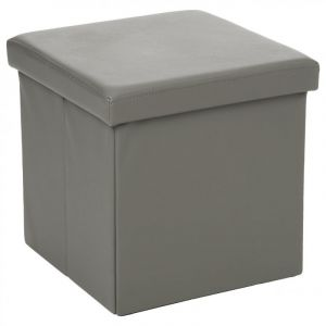 Atmosphera Pouf pliant carré PVC - gris
