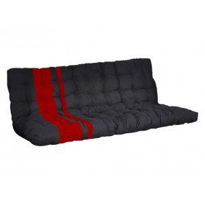 Futon MODULO spécial banquette lit 135x190cm coloris noir et rouge