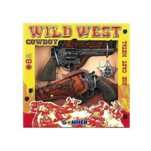 Gonher Coffret de 2 pistolets cow boy 8 coups avec étuis