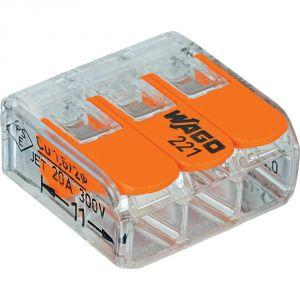 Wago 221-413 - Mini borne d'installation universelle Nombre de pôles: 3 transparent, orange 50 pc(s)