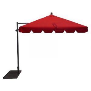 Pegane Parasol rectangulaire déporté coloris Rouge - Dim : 250 x D 300 x 200/4 baleines
