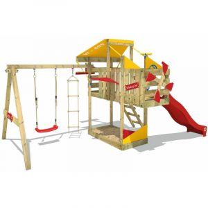Wickey Aire de jeux Portique bois AirFlyer avec balançoire et toboggan rouge Cabane enfant exterieur avec bac à sable