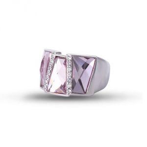 Blue Pearls Cry H400 C - Bague rectangle en Cristal de Swarovski Elements Rose et plaqué rhodium