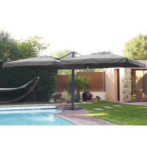 DCB Garden P-07 - Parasol droit double pied 2 toiles 300 x 300 cm