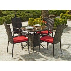 Hévéa Bermago 90/4 - Ensemble de jardin table et 4 chaises avec coussin