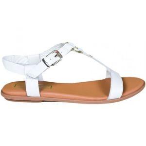 Tommy Hilfiger Sandales Sandales plates blanche en cuir pour femme blanc - Taille 36,37,38,39,40,41