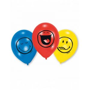 6 ballons en latex émoticônes Smiley