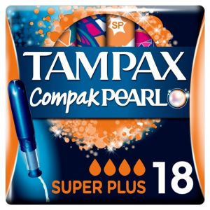 Tampax Compak Pearl Super Plus Tampons avec Applicateur x18 - Lot de 3