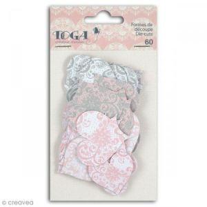 Toga Pack de 60 Formes découpées CŒurs - Rose et gris