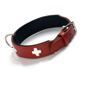 Hunter Hundehalsband Swiss, Collier de chien en cuir, 75, Rouge/Noir