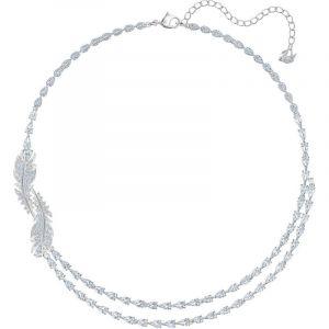 Swarovski : Collier et pendentif 5493404 - Double Rang Métal Argenté Plume Cristaux Incolores Femme
