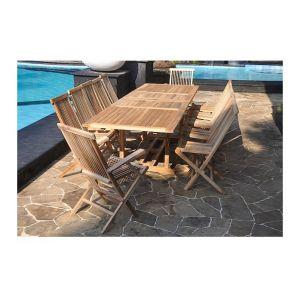 Klit - Ensemble de jardin en teck avec 10 chaises, 2 fauteuils et table rectangulaire