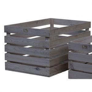 Estwood Caisse en bois de pin gris 59,5x39x33 cm