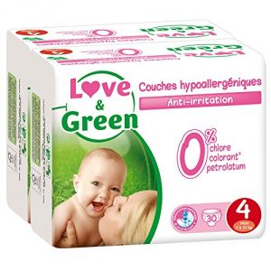 Love & Green Couches écologiques taille 4 Maxi 7-14 kg - 2 x 30 couches
