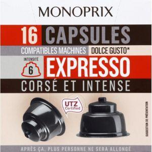 Monoprix Capsules de café corsé et intense, expresso pour machine Dolce Gusto