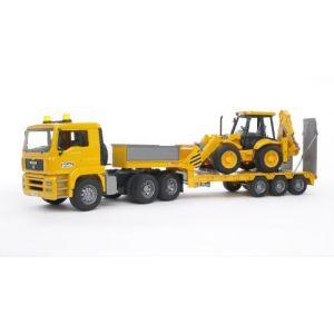 Bruder Toys Camion MAN TGA et sa remorque surbaissée avec Tractopelle Jcb 4Cx (échelle 1:16)