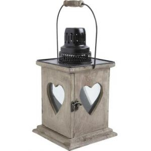 Aubry Gaspard Lanterne coeur en bois vieilli -