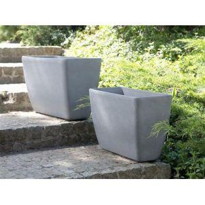 Beliani Lot de 2 bac à fleurs en pierre gris BARIS