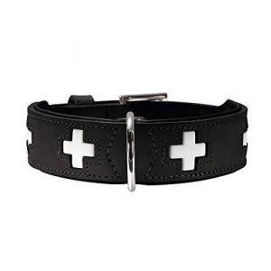 Hunter Hundehalsband Swiss, Collier de chien en cuir, 42, Noir 42817