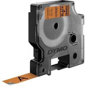 Dymo 1978367 - Ruban d'étiquettes auto-adhésives noir sur orange (1,2 cm x 3 m)