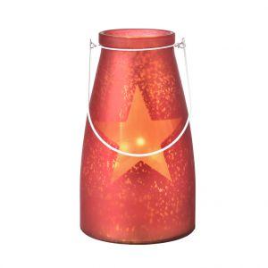 Verre bocal rouge avec étoile lumineuse 20 LED de 15x26 cm