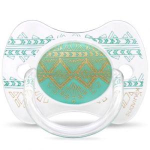 Suavinex Sucette anatomique réversible Couture Ethnic vert d'eau et doré en silicone (0-4 mois)