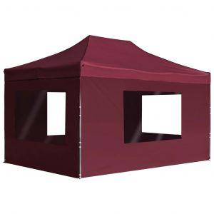VidaXL Tente de réception pliable et parois Aluminium 4,5x3 m Bordeaux