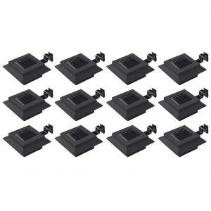 VidaXL Lampes solaires à LED carrées d'extérieur 12 pcs 12 cm Noir