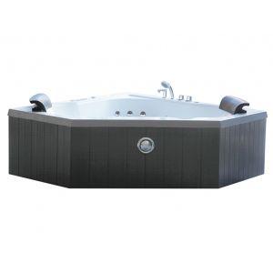 Shower design Baignoire balnéo d'angle SANTORINO - 2 places - 350L - 160*160*H60cm - coloris gris