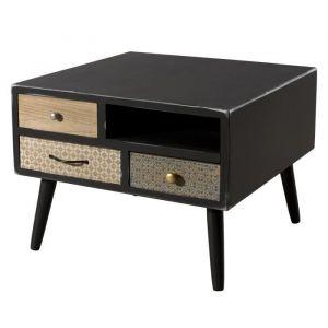 Table b e carrée scandinave noir mat + pieds bois pin m if L 60 x l 60 cm