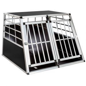 TecTake Cage de transport double pour chien en aluminium avec cloison