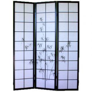 Pegane Paravent bois noir avec dessin bambou noir - 3 pans -