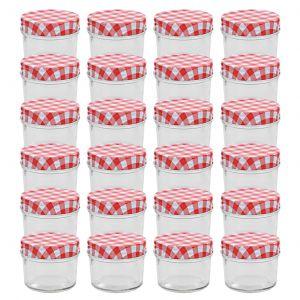 VidaXL 24 pcs Pots à confiture Couvercles blanc et rouge Verre 110 ml