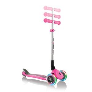 Globber Trottinette 3 roues pliable rose roues lumineuses