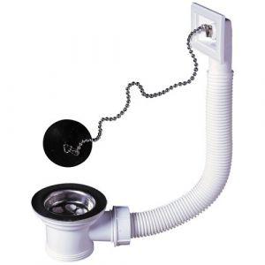 Wirquin Bonde à panier + trop plein pour évier inox - D : 50 cm - Accessoire lave-linge, WC, Vidage