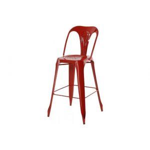 Inwood 2x Chaise de bar industrielle en métal rouge Indus
