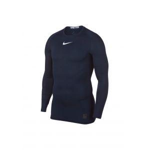 Nike Pro Compression Manches Longues - Bleu Foncé/Blanc