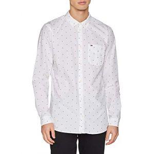 Tommy Jeans Chemise imprimée coupe droite, manches longues Blanc - Taille L;M;S;XL;XXL
