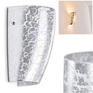 Hofstein Applique murale Severo en verre argenté - lampe pour chambre à coucher - couloir - salle de séjour