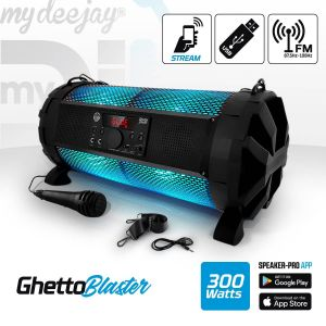 My deejay Enceinte Sono Mobile LED RVB 300W - USB/BT/RADIO + Micro - PowerBank - MyDJ Ghetto Blaster