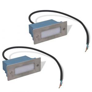 VidaXL Lampes d'escalier encastrées à LED 44x111x56 mm