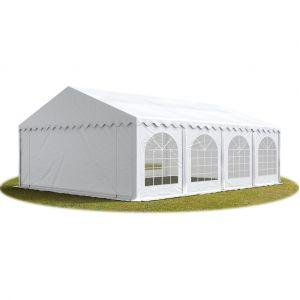 Intent24 TOOLPORT Tente Barnum de Réception 5x8 m ignifugee PREMIUM Bâches Amovibles PVC 500 g/m² blanc Cadre de Sol Jardin.FR