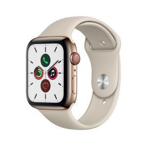 Apple Watch Watch Series 5 GPS + Cellular 44mm, Boitier Acier Inoxydable Or avec Bracelet Sport Stone - S/M & M/L