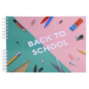 Exacompta 16011E - Album photos de classe Back to School 32x22 cm, 50p. noires/100 photos, reliure à spirales