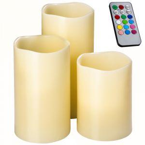 TecTake Lot de 3 Bougies à LED d Ambiance en Cire + 1 Télécommande de